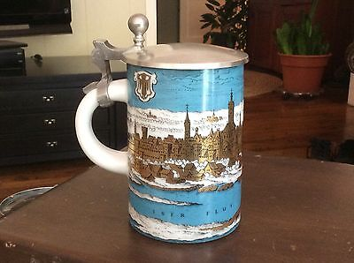 "Vintage German Stein - 5 1/4"" tall showing city of Munich"