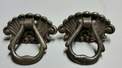 Pair matching vintage art deco metal pulls handles dresser drawer (391)