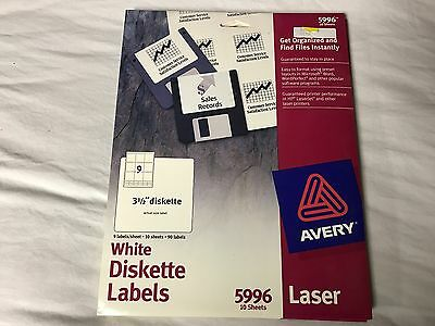 """Avery® Laser 3.5"""" Diskette Labels, White, 90/Pack Brand New 5996"""