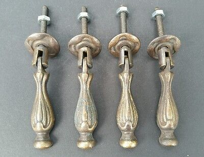 "4 Pendant Brass Handle Pulls w. screws 2 5/8"" Antique Classic Style #Z7"