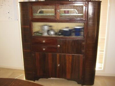 Antique Art Deco Vintage Kitchen Buffet Cabinet Stain Glass Cupboard
