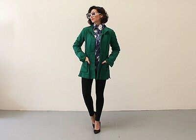 Vintage 70s Boho Kelly Green BELTED Fitted Jacket Coat Size S