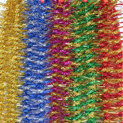 LUXURY Thick Pale Double Color Tinsel 2METRE Garland Christmas Decorations C9001