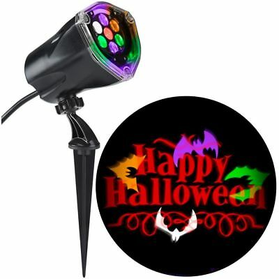 LED Projection Lights Plus Whirl A Motion Static Orange Happy Halloween With Bat