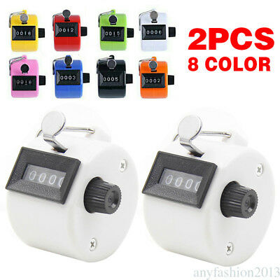 2* Hand Held Tally Counter Clicker 4 Digit Chrome Palm Golf People Counting