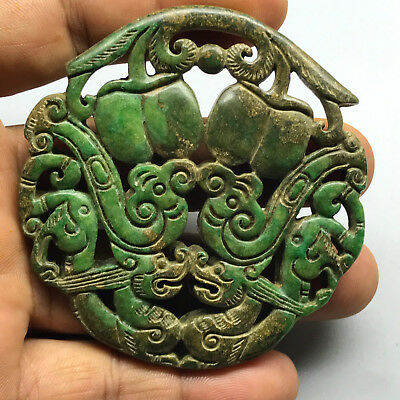 Old Chinese Neolithic xiuyu jade Hand carved Amulet Pendant   4251