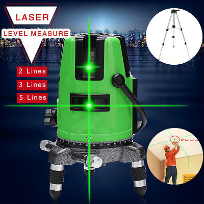 2/3/5 Green Line Laser Level Self Leveling 360° Rotary Outdoor Measure w/Tripod
