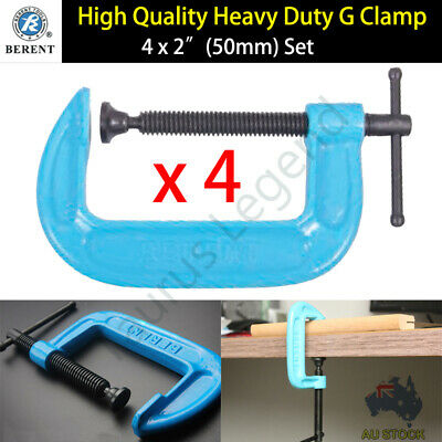 "4x 2"" Heavy Duty G Clamp Set BERENT Workbench Grip Tool Carpentry Metalwork"