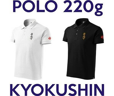 Polo shirt karate kyokushin embroidery kanji kanku. + FREE sticker