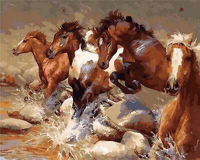 16X20'' Paint By Number Kit Acrylic DIY Running Horses Painting Canvas 1151