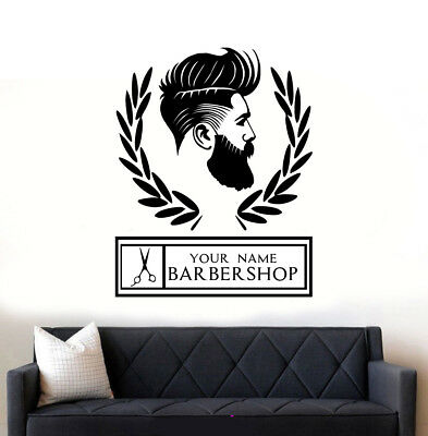 Barber Shop Personalised Hipster Wall Art Sticker/Decal1