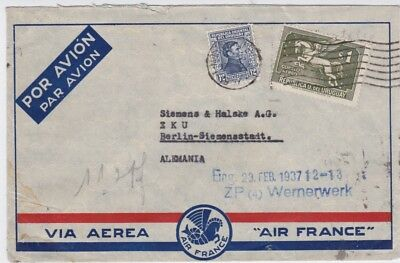Uruguay-1937 Air France flown $1.12 Montevideo airmail letter cover to Germany