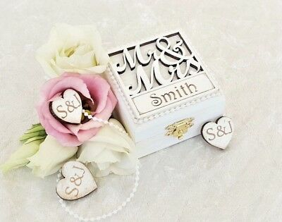 Personalised Mr & Mrs Double Ring Box/For Wedding Ring Bearers & Engagements ETC