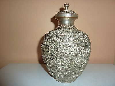 19Th Century Silver Plate On Copper Urn/vase With Moulded Pattern Decoration
