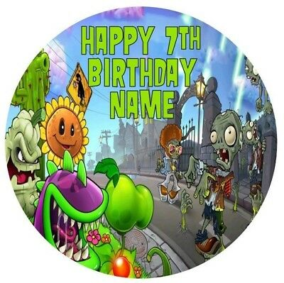 Plants vs Zombies Personalised Edible Icing Cake Topper 19cm PRE-CUT