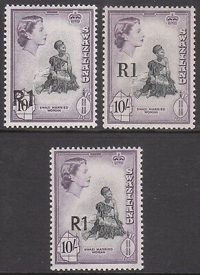 SWAZILAND 1961 #76b Type 3 MINT OPTED 1R QE11 STAMP