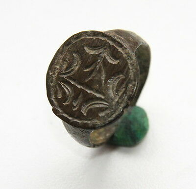 Ancient Bronze Finger Pseudo-Heraldry Seal Ring (DCR02)