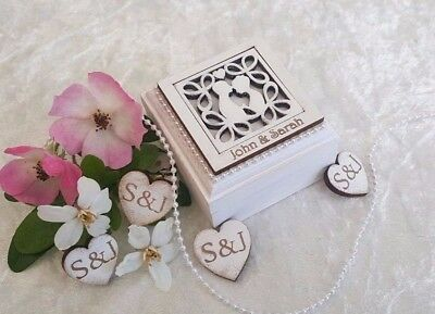 Personalised Double Wedding/Engagement Ring Bearer Box - 'Silhouette' design
