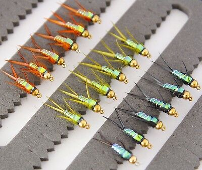 Gold Head Nymph Buzzers Trout Fishing Flies 33J-1 Hook sizes 10, 12 or 14