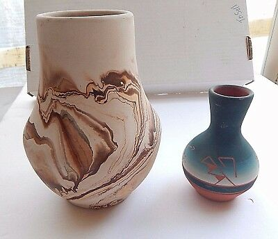 Nemadji Pottery Vase & Indian Pottery Vase Lot Of 2 Items Decorative Home
