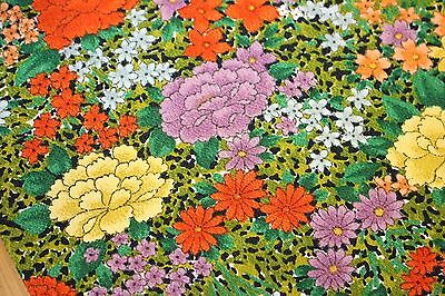 Vintage Japanese Smooth Silk Crepe Chirimen Floral Kimono Fabric Patchwork 60""