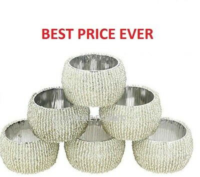 Napkin Rings Silver Beaded Glass Set Of 8 Wedding Birthday Dinner Party Xmas New