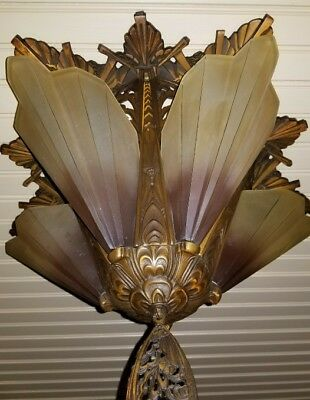 1930's Exquisite Art Deco Solid Bronze Slip Shade Chandelier w/ Brown Tip Shades