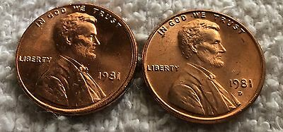 1981 P and D lincoln cent 1 each from obw roll wow look