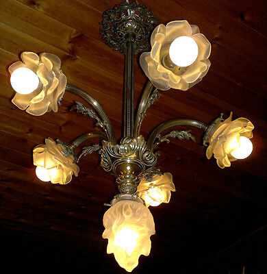 Antique French Bronze Art Nouveau 5 Arm Branch Ceiling Light Chandelier c1910~20