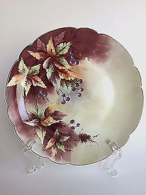 Limoges Hand Painted Purple Berries Leaves Signed Cabinet Collector Plate France