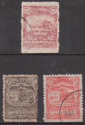 MEXICO 1896 Sc#264 #266 #267 USED STEAM TRAIN & HORSE CARRIAGE STAMPS wmk 153