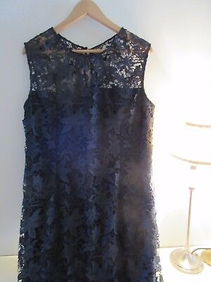 Laura Ashley lace overlay navy blue dress. Size 16.