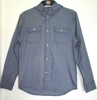 New Boys Hooded Shirt Marks & Spencer 100% Cotton 11-12 13-14 Years Denim