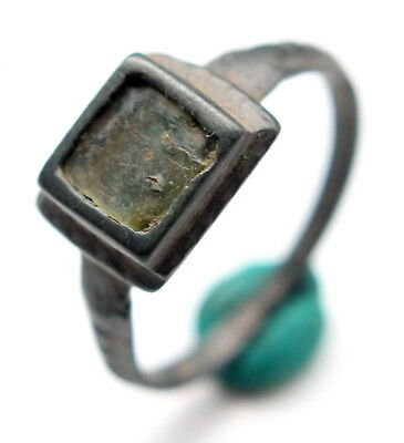 Ancient Medieval Bronze Finger Ring With Inlay (SEP01)