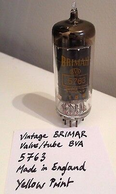 NOS Vintage BRIMAR valve tube 5763 Made in England Yellow print