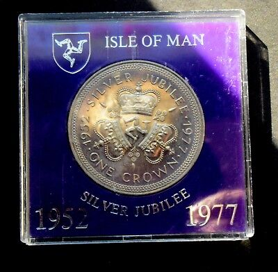 1977 Crown  Isle Of Man Silver Jubilee Coin 1952 - 1977 - 25 Years Cased  Km# 41