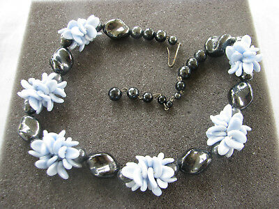 Vintage Western Germany Signed 1950's Blue Molded Glass Flowers & Black Beads 17