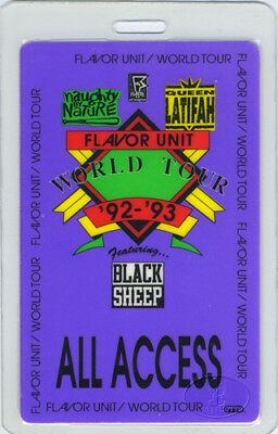 QUEEN LATIFAH FLAVOR UNIT 1992 LAMINATED BACKSTAGE PASS Naughty By Nature