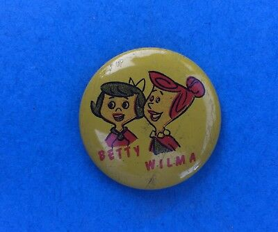 Rare 1960's Flintstones Cartoon Jacket Hat Lapel Pin Button Betty & Wilma C