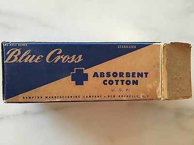 VINTAGE BLUE CROSS Absorbent Cotton In Box Antique MEDICINE Collectible