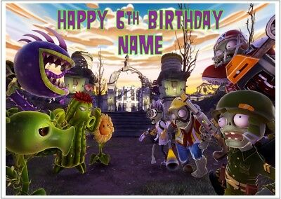 Plants vs Zombies Personalised Edible Icing Cake Topper A4 Size