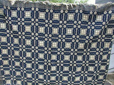 """1800's Homespun Blue & White Coverlet 81"""" Wide by 81"""" Long"""