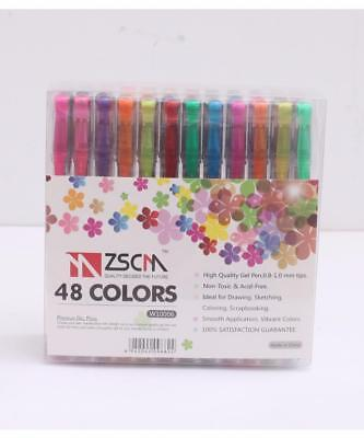 ZSCM Glitter Gel Pens 48 Colors for Drawing Writing Doodling Fine Line