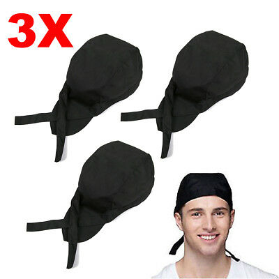 3PCS Adjustable Men Women Kitchen Baker Chef Elastic Caps Hats Catering Black