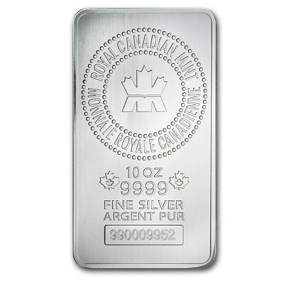 Lingot 10 Once argent pur 9999 / ROYAL CANADIAN MINT (RCM) 10 Oz Fine Silver Bar