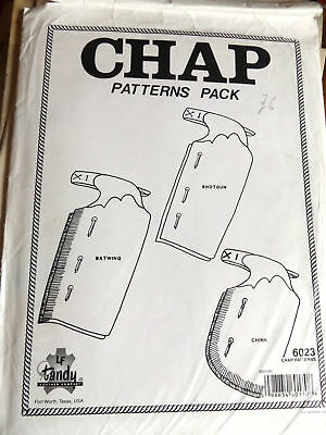 Chap Patterns Pack Batwing Shotgun Chink Styles Leather making Tandy #6023