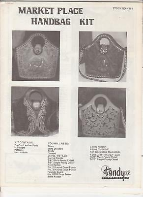 """Market Place"" Handbag Pattern Leather making & tooling instructions Tandy #4381"