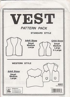 Adult and Child Vest (Waistcoat) Western Pattern S/M/L Leather Tandy #6001