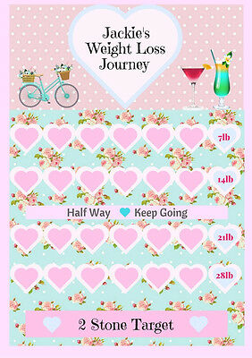 Personalised Weight Loss slimming chart tracker target goal sw ww
