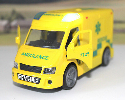 PERSONALISED PLATE Gift Yellow AMBULANCE Boys Toy Sound & Lights Present Boxed